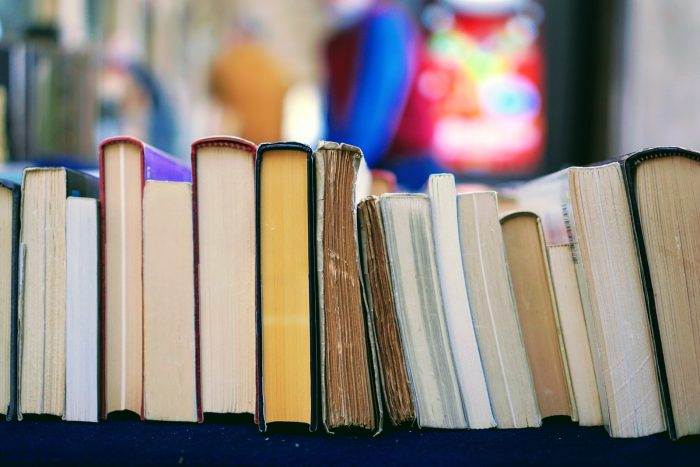 book lot on table
